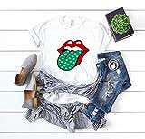 Irish girl Womens St patricks day tee tongue shirt st paddys day holiday womens cute lips shirt tee gift for her Irish af tee