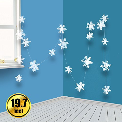 BTNOW 2 Pack 19.7 Feet/236.2 Inches White 3D Christmas Paper Snowflake Hanging Garland Decorations