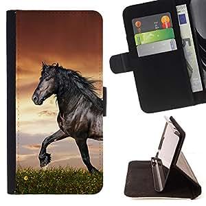 - Handsome Black Horse - - Prima caja de la PU billetera de cuero con ranuras para tarjetas, efectivo desmontable correa para l Funny HouseFOR Sony Xperia M2