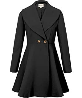 Generic Womens Double-Breasted Solid Color Long Trench Coat Woolen Coat