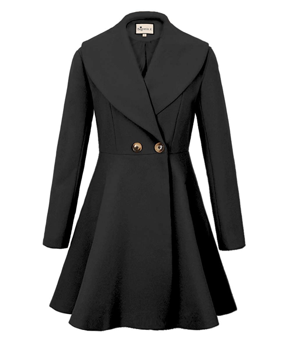 Vintage Coats & Jackets | Retro Coats and Jackets Begonia.K Womens Wool Trench Coat Lapel Wrap Swing Winter Long Overcoat Jacket $46.99 AT vintagedancer.com