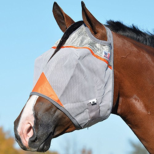 Cashel Crusader Standard Fly Mask with Orange Trim, Animal Rescue Benefit - Size: Horse - Trim Gauze