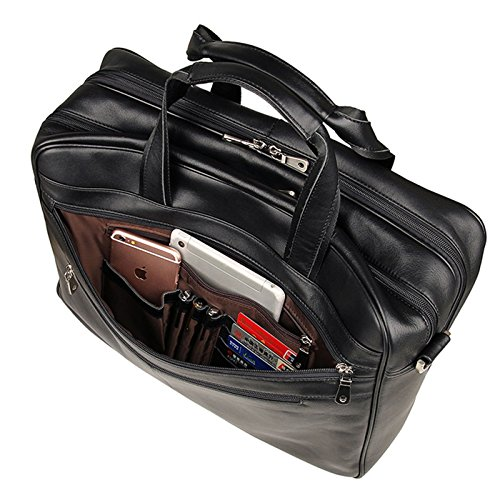 17-inch Leather Laptop Bag, Berchirly Large Lawyer Brifecase Man Computer File Bag Business Totes Black by Berchirly (Image #4)