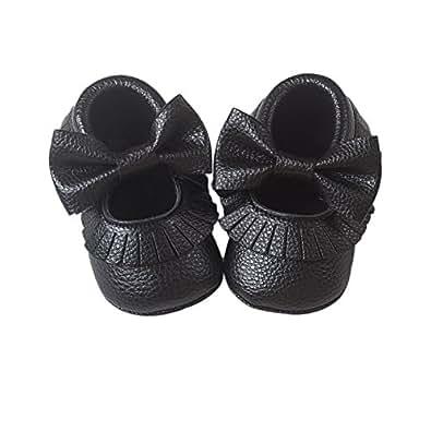 Royal Victory R&V Unisex Infant Baby Boys Girls' Premium PU Soft Sole Bow Prewalker Toddler Shoes 12Colors (11cm (0-6months), Black)