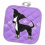 3dRose Janna Salak Designs Dogs - Cute Grey Blue Italian Greyhound Purple with Pawprints - 8x8 Potholder (phl_25366_1)