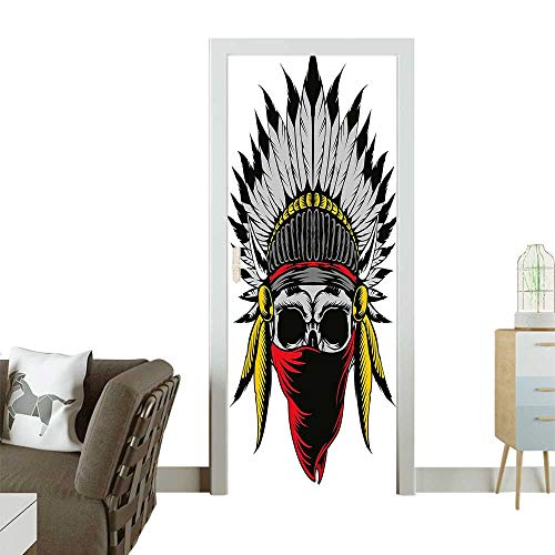 Homesonne Door Sticker Wallpaper Sketch Feathers and Veil Figure Work Print Red Grey Yellow Fashion and Various patternW23.6 x H78.7 INCH ()