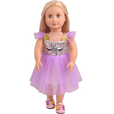 Topsee Veil Soft Cotton Unicorn Doll Dress Clothes Fits 18 inch Dolls Like Our Generation, My Life and American Girl Doll (A05-Purple): Toys & Games