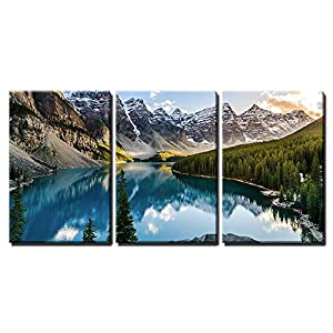 "wall26 - 3 Piece Canvas Wall Art - Landscape View of Moraine Lake and Mountain Range at Sunset in Canadian Rocky Mountains - Modern Home Decor Stretched and Framed Ready to Hang - 16""x24""x3 Panels"