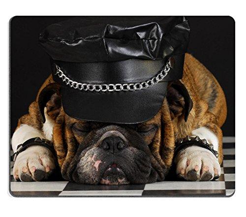 Luxlady Gaming Mousepad english bulldog wearing black leather dressed up like motorcycle gang IMAGE ID