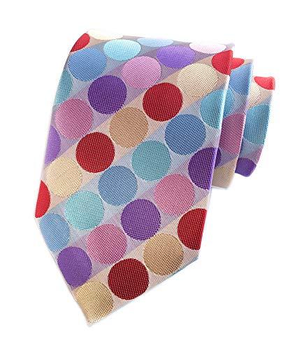 Men's Colorful Rainbow Polka Dots Ties Fashion Silk Bridegroom Wedding Neckties Valentine Gift]()