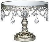 Dahlia Studios Antique Silver Beaded Mirror 8 1/2x10 Inch Round Cake Stand