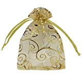 Ankirol 100pcs Sheer Organza Favor Bags For Wedding Baby Shower Rattan Print Gift Bags Samples Display Drawstring Pouches (4x6, gold)