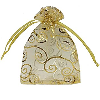 Ankirol 100pcs Sheer Organza Favor Bags for Wedding Baby Shower Rattan Print Gift Bags Samples Display Drawstring Pouches (4x6, Gold)