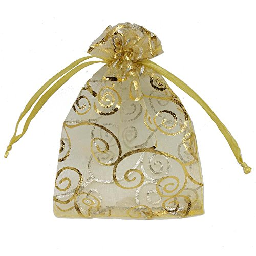 Ankirol 100pcs Sheer Organza Favor Bags for Wedding Baby Shower Rattan Print Gift Bags Samples Display Drawstring Pouches (3x4, Gold)