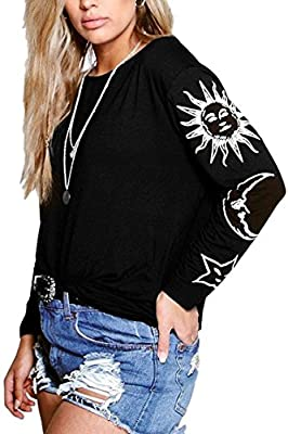Womens Cute Sun Moon Oversized Shirt, Plus Size Black White Soft Long Sleeves Tops