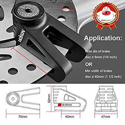 Acekit Disc Lock For Motorcycle and Bicycle With 6mm Lock Pin And Remind Cable Heavy Duty Body No Key To Lock-Black: Automotive