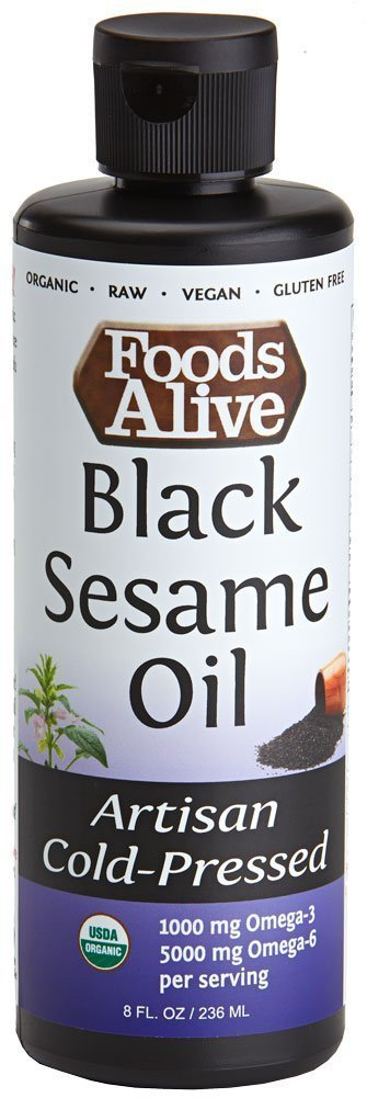 Foods Alive Black Sesame Seed Oil, Artisan Cold-Pressed, Organic, 8oz