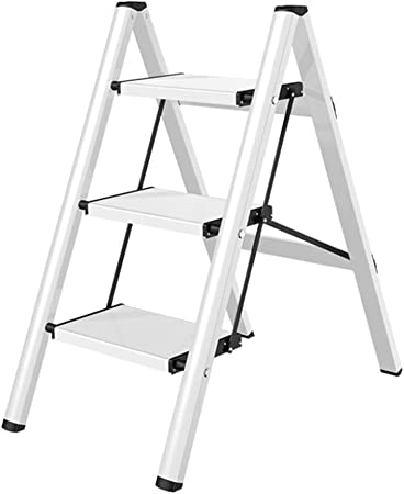 Escaleras de mano Escalera de escaleras para el hogar - Aleación de aluminio antideslizante de 3 pasos con pedales, para estante para zapatos, estante para libros, instalación gratuita, carga 150 kg: Amazon.es: Hogar