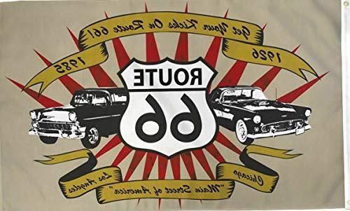 Kaputar Route 66 Cars 3x5ft Poly Flag - Americana - Cars - Automotive | Model FLG - 6165