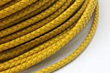 5mm round leather cord - 3 Yards Light Yellow 5.0mm Diameter Genuine Leather Bolo Cord, Braided Leather Bracelet Cord Craft (Light Yellow)