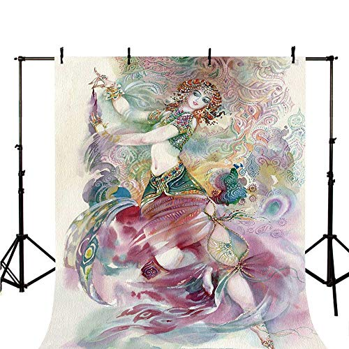 Watercolor Stylish Backdrop,Oriental Dance Theme Young Girl Performing in Traditional Costume Fantasy Figure for Photography,118