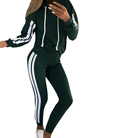 24c845ffce06b Women Tracksuit Sets 2 Pieces Outfits Stripe Hooded Long Sleeve ...