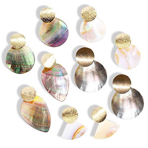 Natural Sea Shell Dangle Earrings - Pearl Drop Beach Jewelry for Women Girls, 5 Pairs