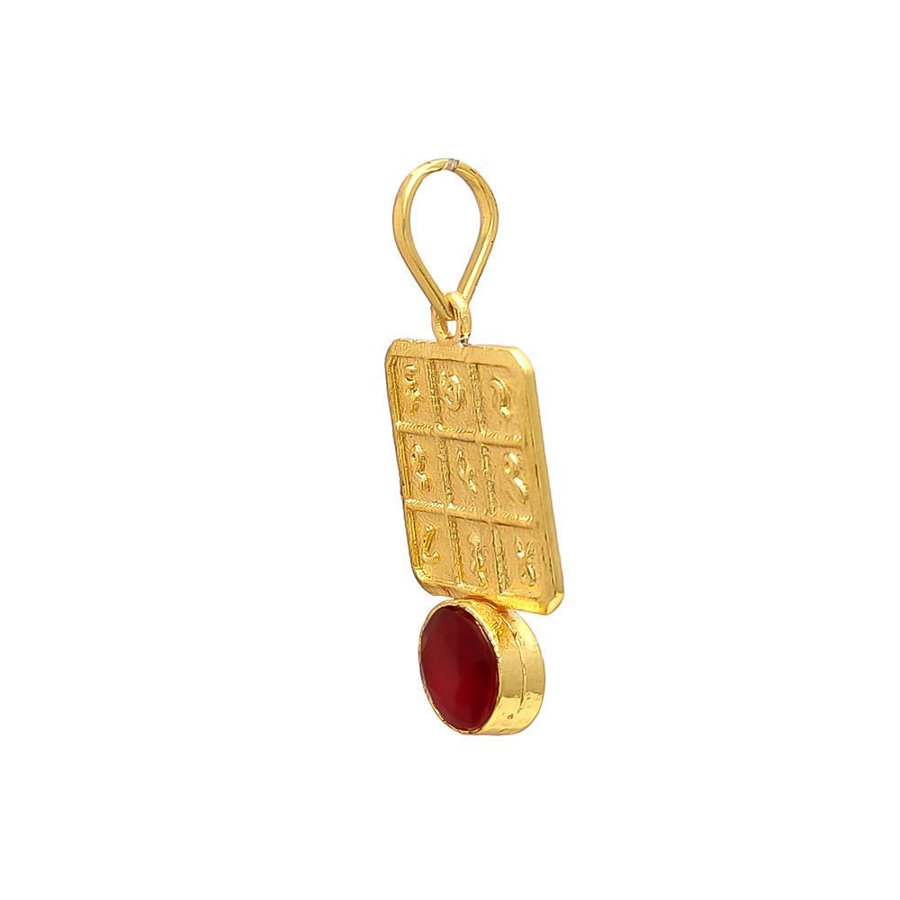 RUDRADIVINE Leo Zodiac Ruby Gemstone Pendant with 24 ct Gold Plated Chain//Made with Genuine Gemstone Specially for Singh Rashi//Planet Sun//Surya