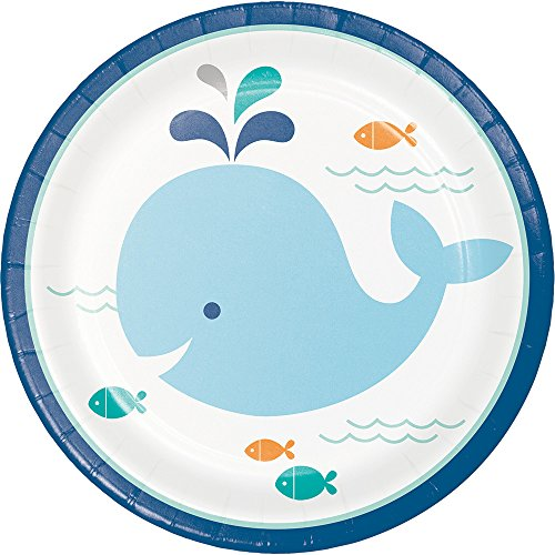 Paper Plate Fish - Creative Converting 322199 96 Count Sturdy Style Dessert/Small Paper Plates, Lil' Spout Blue