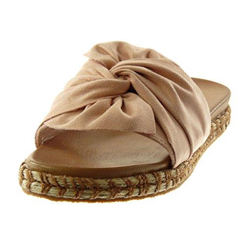 Moda Slip Mules on Angkorly tac Sandalias Nodo Cuerda Mujer Zapatillas Trenzado n5RxqI
