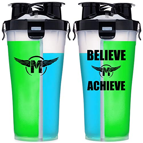 Hydra Cup - 36oz High Performance Dual Shaker Bottle, 2 in 1, 14oz + 22oz, Leak Proof, Awesome Colors, Patented PRE + Protein Shaker Cup, Save Time & Be Prepared, Makaveli OG Clear/Black ()