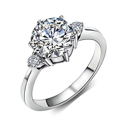 Price comparison product image Adisaer Silver Plated Base Wedding Ring Women You are My Sunshine Two Small CZ Silver Size 7