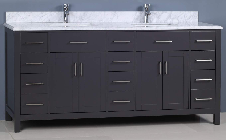 Golden Elite 72'' Carrera Bathroom Vanity Grey