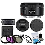 Canon EF 50mm f/1.8 STM Lens For Canon Cameras With 3 Piece Filter Kit (UV-CPL-FLD) + Lens Cleaning Kit