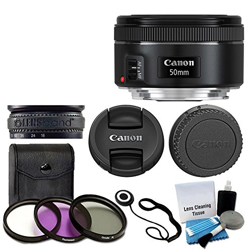 Canon EF 50mm f/1.8 STM Lens For Canon Cameras With 3 Piece Filter Kit (UV-CPL-FLD) + Lens Cleaning Kit by Canon