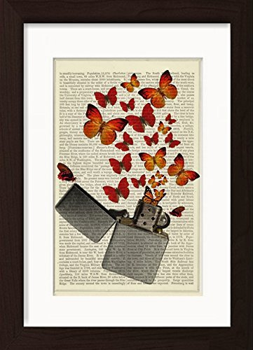 (Zippo Lighter with Orange Butterflies Ready To Frame Mounted /Matted Dictionary Art Print)