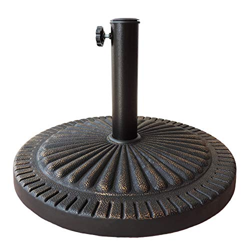 Umbrella Market 9 Base (31 lbs Market Umbrella Base Round Heavy Duty Outdoor Umbrella Stand, Antique Bronze Casting Finish. Suitable up to 9Ft Market Umbrella)
