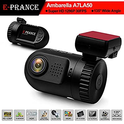 E-PRANCE® 0805 HD 1296P Car DVR Dash Cam with Ambarella A7 Chip from The Rear View Camera Center