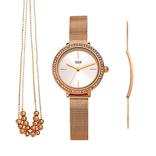 Burgi Women's Jewelry Gift Set – Swarovski Crystal Bezel Watch, Beaded Chain Link Necklace and Crystal Bracelet – Flash Plated Rose Gold - BUR216RG-S
