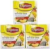 Lipton Pyramid White Tea Bags - Island Mango & Peach - 18 ct - 3 pk