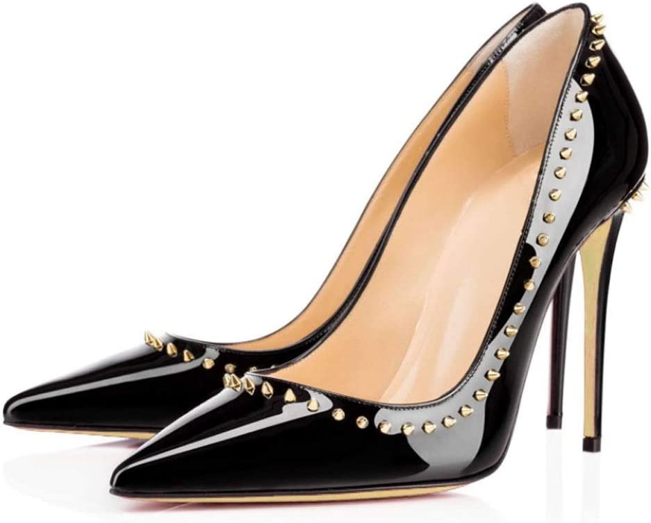 Color : A, Size : 5.5 US DCYU Pointed High Heel Rivet Decorative Stiletto Sandals Model Womens Shoes