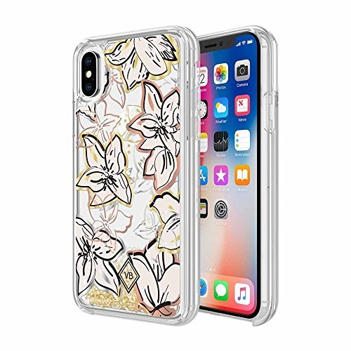 Vera Bradley Glitter Flurry Case for iPhone X - Falling Flowers Rose Gold/Gold Silver/Chunky Gold Glitter - -