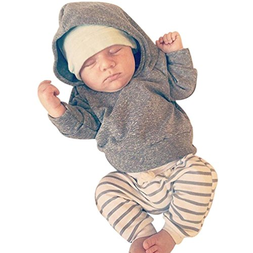 Sharemen Baby Boy Girl Hooded Coat Tops Striped Pants Outfits (0-3 Months, Gray) (Coat Pants Top)
