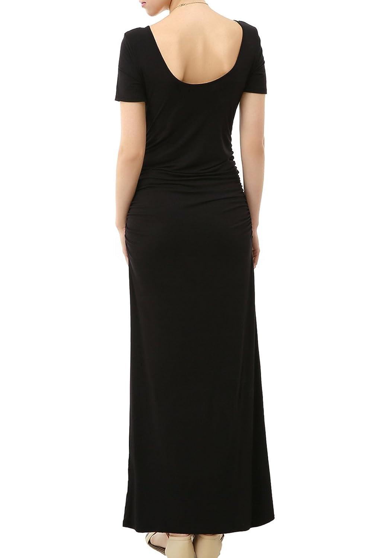 d16897465e541 Momo Maternity Women's Tee Shirt Column Dress - Black M at Amazon Women's  Clothing store: