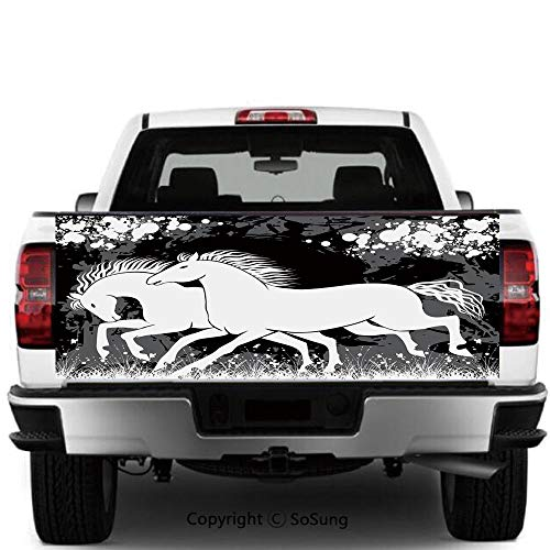 SoSung Modern Decor Vinyl Wall Stickers,Antique Roman Time Gladiator Two Race Horses with Paint Marks Image Cars Trucks Decorative Decal Sticker,60x20 Inches,Black White Grey