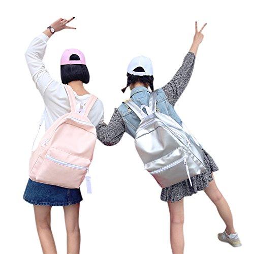 Rucksack, Tasche, Rucksack Damen, Taschen Reisetasche, Rucksack Wasserdicht Leder für Schüler Studenten Tasche PU Leder Glanz für Mädchen rosa