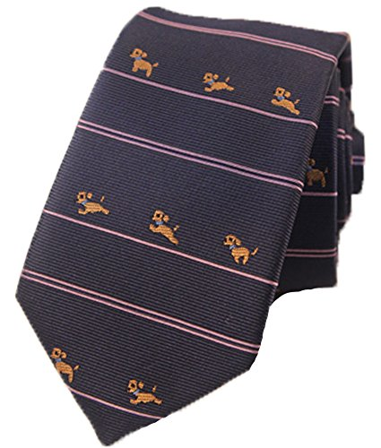 Flairs New York Animal Lovers' Collection Neck Tie (Midnight Blue / Purple Bands [Yorkshire Terrier])