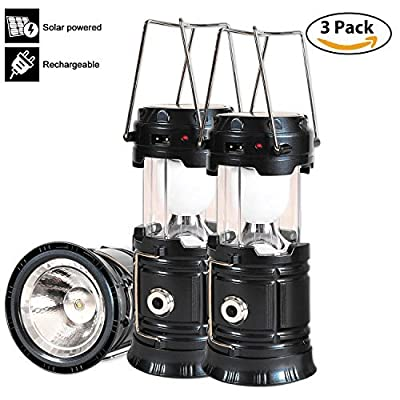 Solar Led Camping Lantern, 3 Pack Rechargeable Lantern Flashlight, Collapsible Outdoor Lamp Light for Emergency, Hurricanes, Power Outage, Storm (Black)