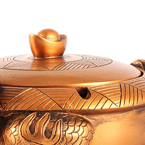 JNRONG-yhg Ashtray Resin, Classical Cover, Creative Nostalgic Office Living Room Coffee Table Ashtray Lucky Dragon Turtle Gold by JNRONG-yhg (Image #5)