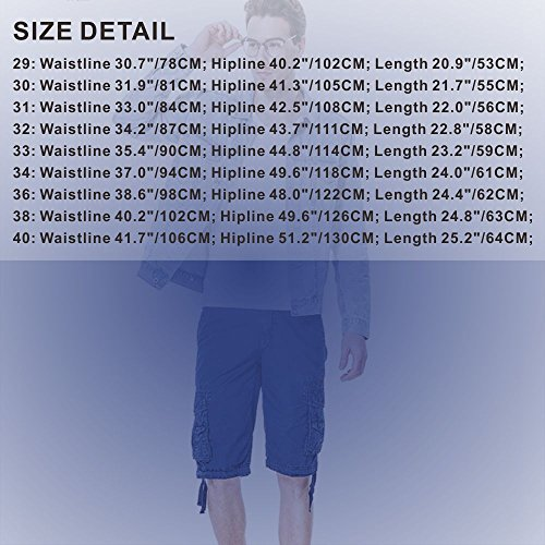 Men's Cotton Cargo Shorts Elastic Waist Loose Fit Pants Boys Summer Outdoor (32,Dark Blue) by MOACC (Image #6)